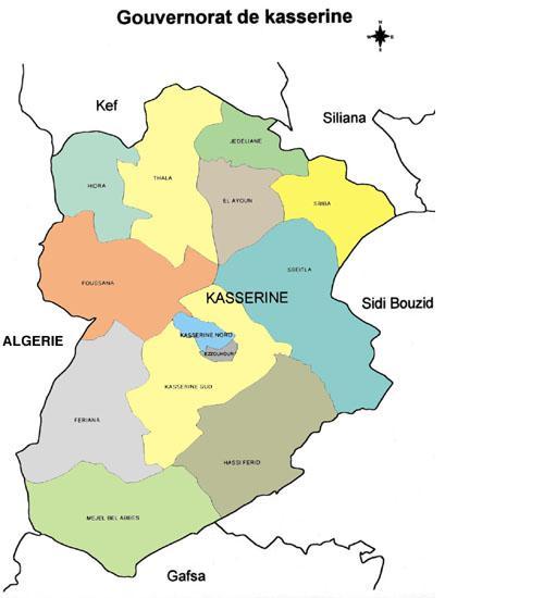 Mapa de Kasserine